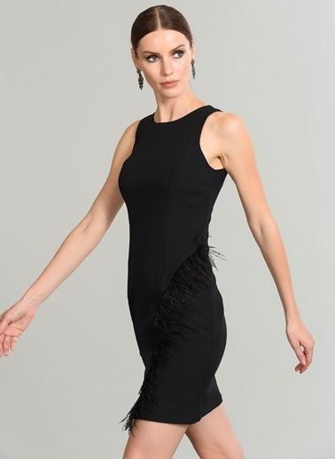 People By Fabrika Tüy Detaylı Elbise Siyah